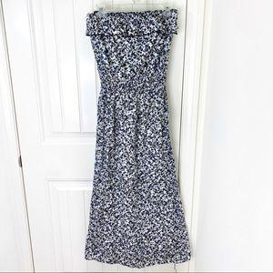 L8ter Floral Ruffle Strapless Cotton Maxi Dress M